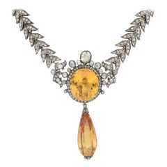 Victorian Imperial Topaz and Diamond Necklace Circa 1860's
