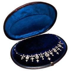 Victorian circa 1880, 3.32 Carat Diamond Gold and Silver Belle Époque Necklace