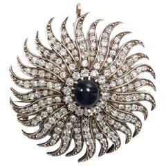 Victorian circa 1880 Certified 7.51 ct Diamond Sapphire Sunburst Brooch Pendant