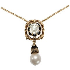 Victorian circa 1890 2.0 ct Old Mine Cut Diamond and Natural Pearl Gold Necklace