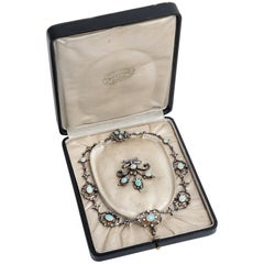 Victorian circa 1895, 10.50 Carat Opal & 5.06 Ct Diamond Garland Style Necklace