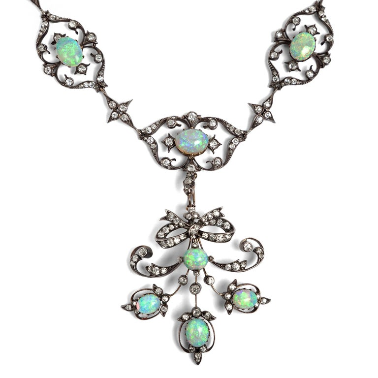 Old European Cut Victorian circa 1895, 10.50 Carat Opal & 5.06 Ct Diamond Garland Style Necklace For Sale