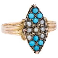 Victorian circa 1896 Seed Pearl Turquoise Ring Vintage 15 Karat Yellow Gold