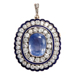 Victorian circa 1900 Certified 9.80 Carat No Heat Sapphire Brooch and Pendant