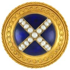 Victorian Circular Blue Enamel, Pearl and Gold Brooch