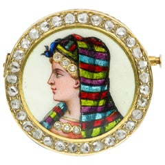 Victorian Circular Enamel Brooch with Ladies Head