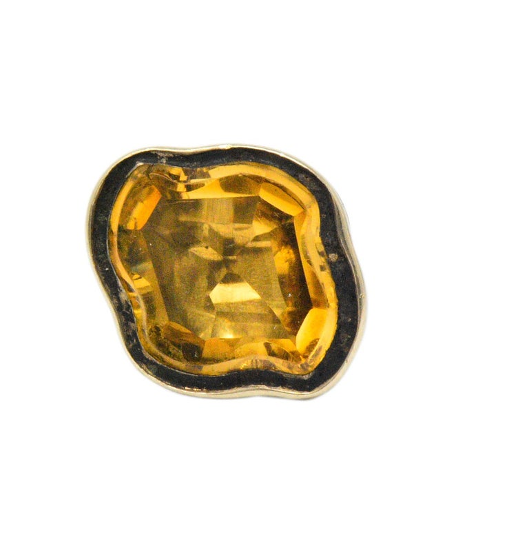 Women's or Men's Victorian Citrine 14 Karat Gold Fob Pendant Charm For Sale
