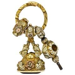 Victorian Citrine 14 Karat Tri-Colored Gold Watch Key Fob Pendant