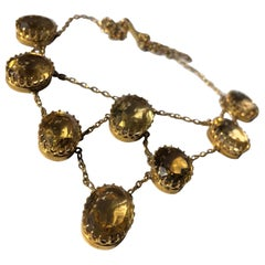 Victorian Citrine and 9 Carat Gold Necklace