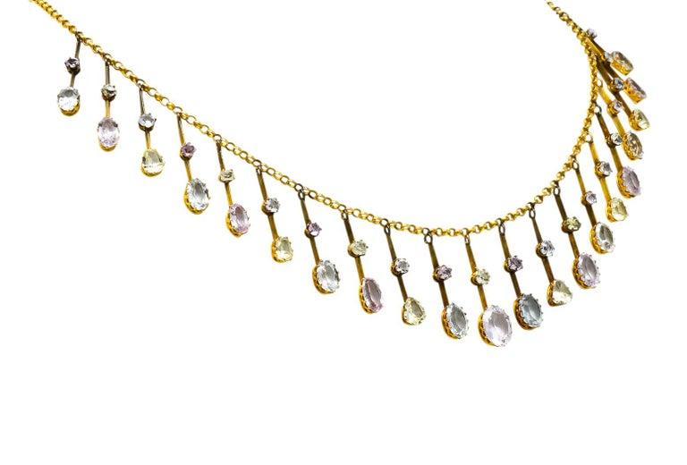 Victorian Citrine Topaz Tourmaline Multi-Gemstone 14 Karat Gold Fringe Necklace In Excellent Condition For Sale In Philadelphia, PA