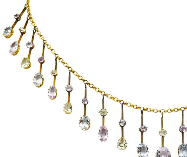 Women's or Men's Victorian Citrine Topaz Tourmaline Multi-Gemstone 14 Karat Gold Fringe Necklace For Sale