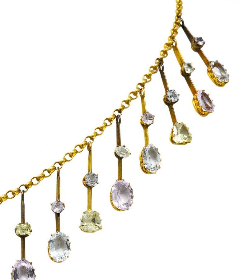 Victorian Citrine Topaz Tourmaline Multi-Gemstone 14 Karat Gold Fringe Necklace For Sale 1