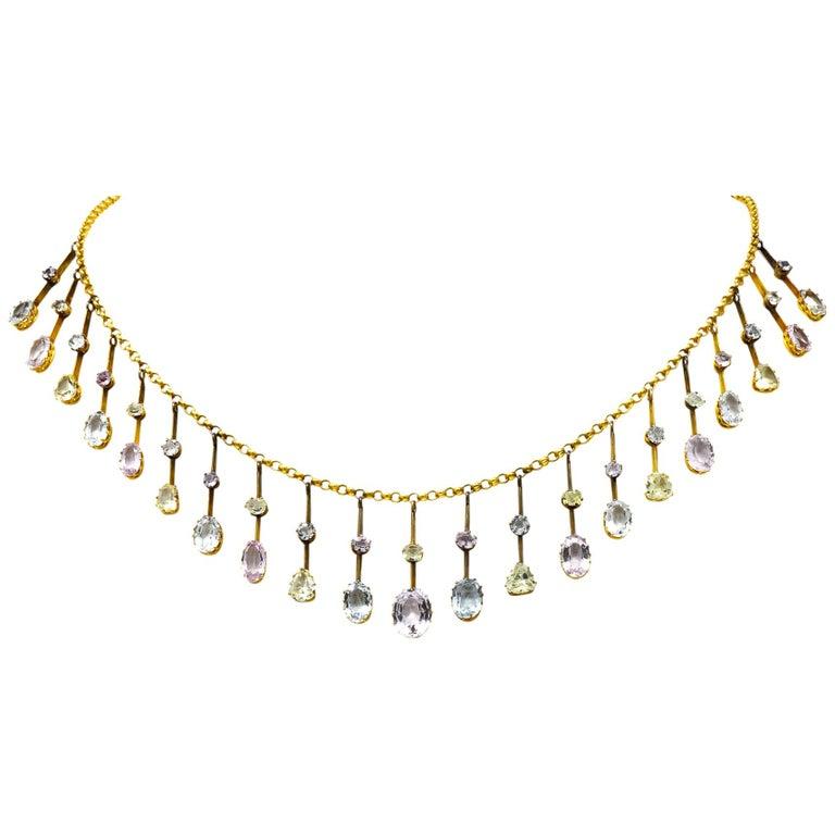 Victorian Citrine Topaz Tourmaline Multi-Gemstone 14 Karat Gold Fringe Necklace For Sale