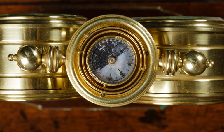 Brass Victorian Clock / Barometer Compendium For Sale