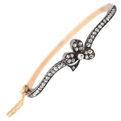 Victorian Clover Rose Cut Diamonds Bracelet Original Box Yellow Gold, 1900
