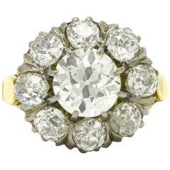 Victorian Cluster 3 1/2 Carat Diamond Engagement Ring Old Mine Cut Antique Dome