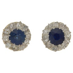 Victorian Cluster Diamond Sapphire Stud Earrings