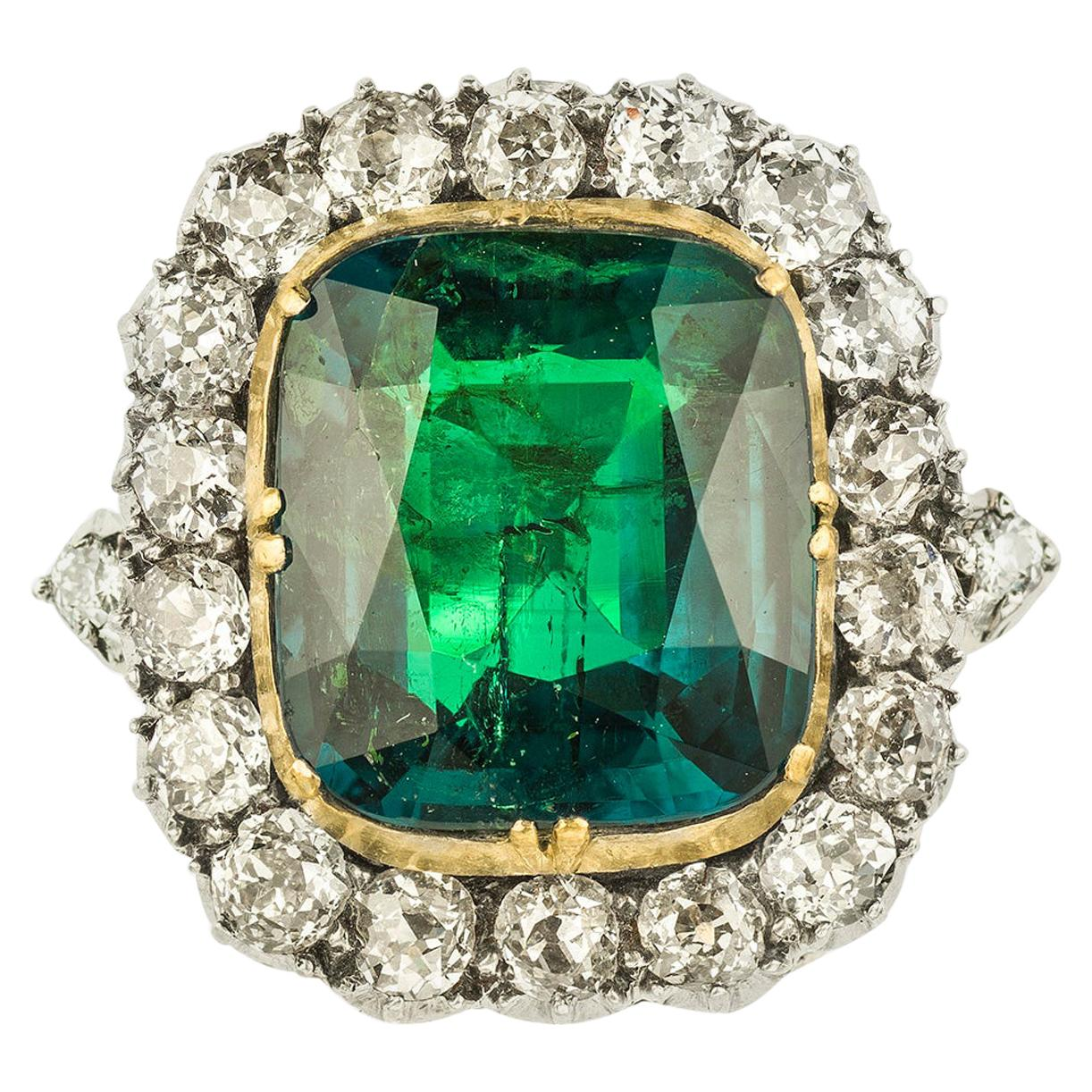 Victorian Colombian Emerald and Diamond Cluster Ring