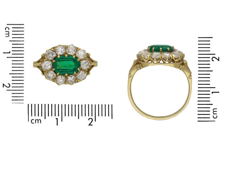Emerald Cut Victorian Colombian Emerald and Diamond Coronet Cluster Ring, circa 1890 For Sale