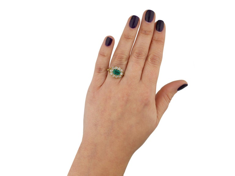 Victorian Colombian Emerald and Diamond Coronet Cluster Ring, circa 1890 In Good Condition For Sale In London, GB