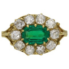 Victorian Colombian Emerald and Diamond Coronet Cluster Ring, circa 1890
