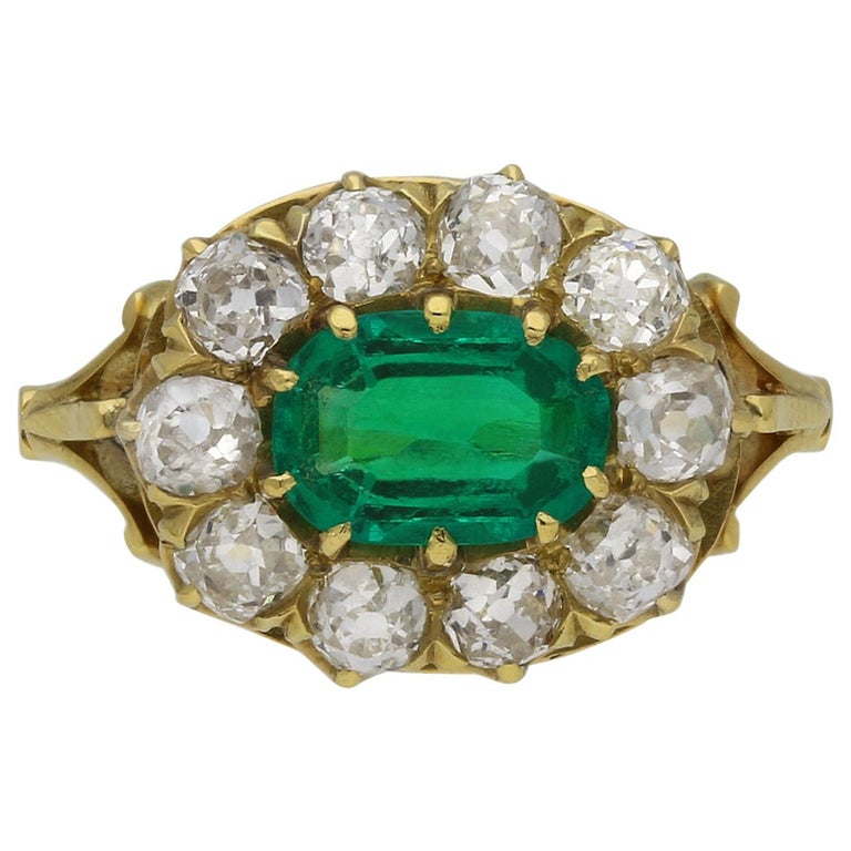 Victorian Colombian Emerald and Diamond Coronet Cluster Ring, circa 1890 For Sale