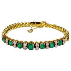 Victorian Colombian Emerald Diamond Rare Curb Bracelet