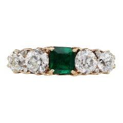 Victorian Colombian Emerald Diamond Rare Five-Stone Ring