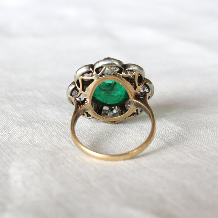 Victorian Colombian High Cabochon Emerald Diamond Flower Petal Ring, circa 1880s For Sale 5