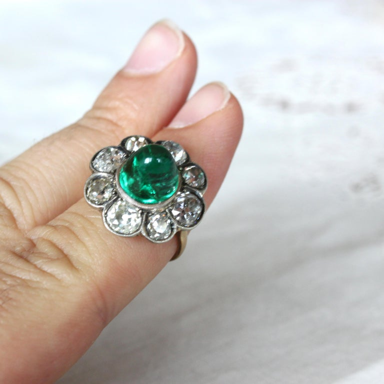 Victorian Colombian High Cabochon Emerald Diamond Flower Petal Ring, circa 1880s For Sale 6