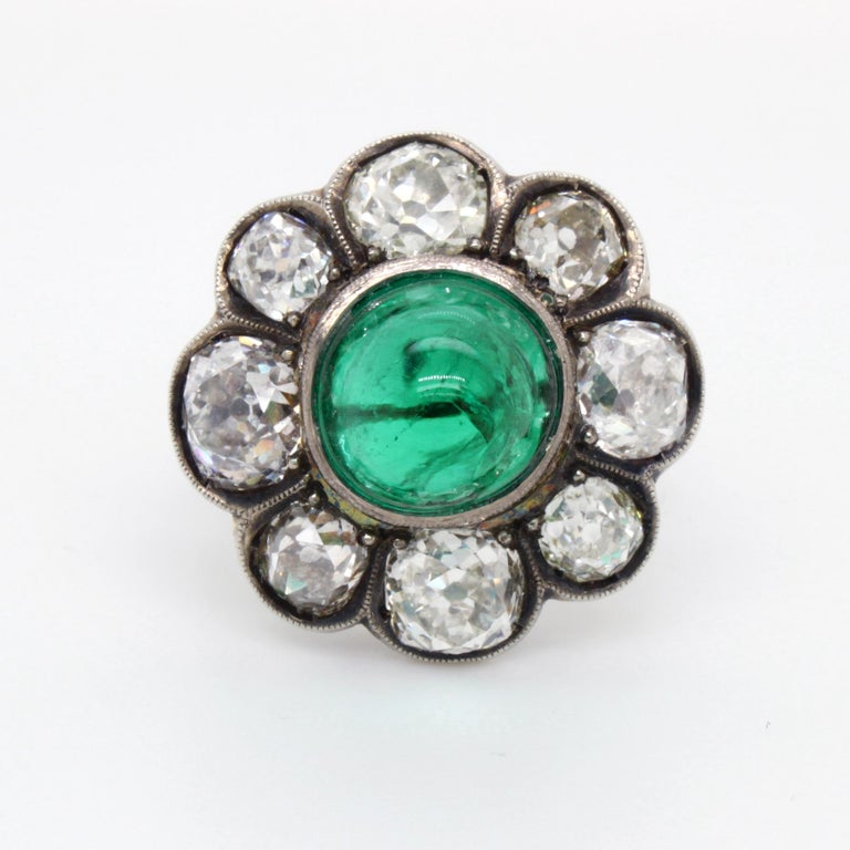 Sugarloaf Cabochon Victorian Colombian High Cabochon Emerald Diamond Flower Petal Ring, circa 1880s For Sale