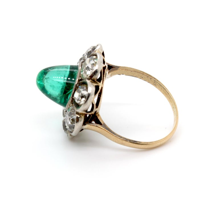 Women's Victorian Colombian High Cabochon Emerald Diamond Flower Petal Ring, circa 1880s For Sale