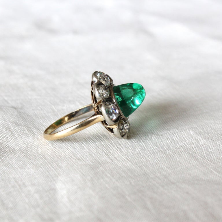 Victorian Colombian High Cabochon Emerald Diamond Flower Petal Ring, circa 1880s For Sale 4