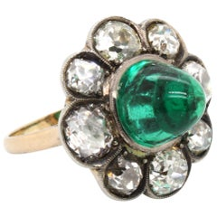 Victorian Colombian High Cabochon Emerald Diamond Flower Petal Ring, circa 1880s