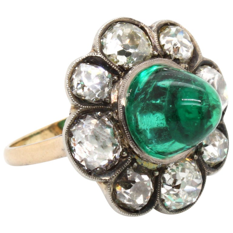 Victorian Colombian High Cabochon Emerald Diamond Flower Petal Ring, circa 1880s For Sale