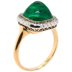 Victorian Colombian Sugarloaf Emerald and Diamond Ring, circa 1890s