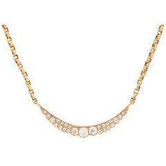 Victorian Conversion Diamond Sliver Crescent Pendant Necklace 0.90ct