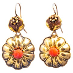 Victorian Coral and 18 Carat Gold Drop Earrings