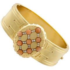 Victorian Coral and Diamond Bangle in Yellow Gold