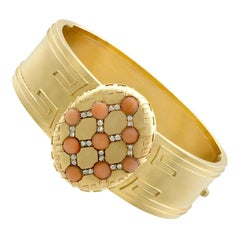1880s Victorian Coral and Diamond Yellow Gold Bangle