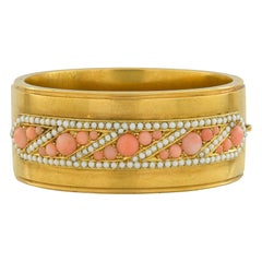 Victorian Coral and Pearl Gold Bangle