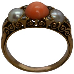 Victorian Coral and Pearl Half Hoop 18 Karat Yellow Gold Hand Carved Ring