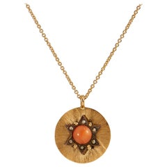 Victorian Coral and Seed Pearl Pendant Necklace