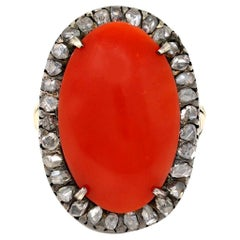Victorian Coral Cabochon and Rose Cut Diamond Cocktail Ring in 14k and Silver