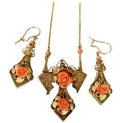 Victorian Coral Carved Roses 14 Karat Yellow Gold Necklace/Pin and Earrings Set
