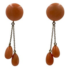 Victorian Coral Dangle Drop Earrings 14 Karat Gold