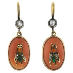 Victorian Coral, Diamond and Enameled Fly Earrings