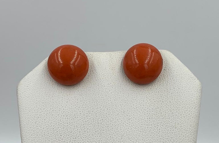 Cabochon Victorian Coral Earrings Gold For Sale