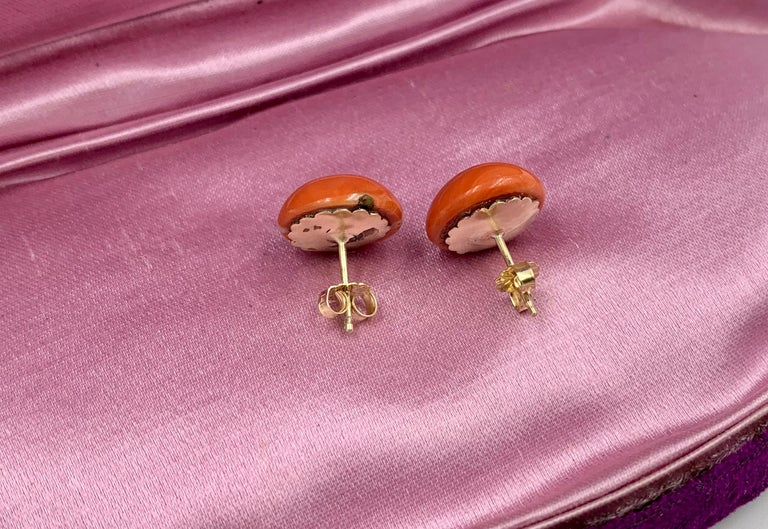 Victorian Coral Earrings Gold For Sale 1