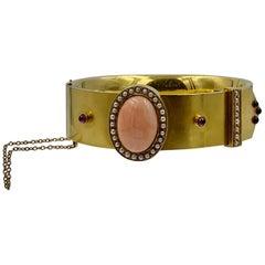 Victorian Coral Garnet Pearl Bangle Buckle Bracelet 14K Gold Etruscan Revival